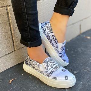 Shoes - Hot White Bandana Slip On Sneakers Tennis Shoes